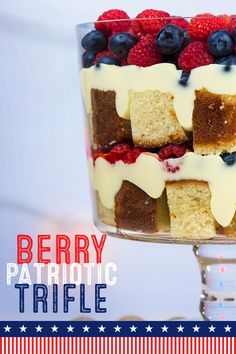 Celebrate July 4th with creamy layers of red, white & blue. Beat our sweetened condensed milk, pudding mix & milk, fold in our sour cream, then chill. Save half the pudding mixture, then layer half the cake pieces, half of remaining pudding & half of the berries. Repeat layers, spoon pudding mixture on top, chill then serve at your holiday party!