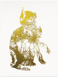 Screen print called Golden Cat (Second from set of four) Limited edition artwork. Handmade - luck - animal - pet - lucky charm