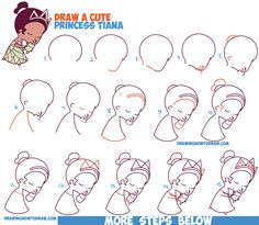 How to Draw Princess Tiana (Cute / Chibi / Kawaii) from Disney's Princess and the Frog - Easy Steps Drawing Tutorial for Kids
