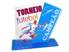Troféu de acrílico Futebol.