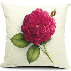 Country Red Flower Cotton/Linen Decorative Pillow Cover – USD $ 14.99
