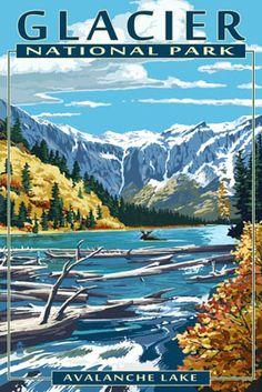 Avalanche Lake - Glacier National Park, Montana - Lantern Press Poster
