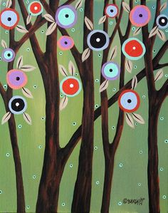 Whimsy Trees 8x10 inch Canvas Panel PAINTING Original ABSTRACT FOLK ART Karla G  ..new painting for sale now..  #FolkArtAbstract