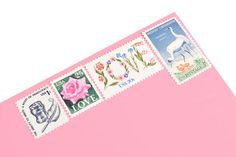 Baby Shower Stamp Set (Girl) - Vintage Unused Postage for your wedding, event or every day mailings! Enough to mail 8 letters Love Stamps, Ink Stamps, Quill And Ink, Vintage Stamps, Something Old, Wedding Paper, Beautiful Babies, Wedding Events, Baby Shower