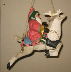 18: HOUSE OF HATTEN *SANTA CLAUS RIDING WHITE REINDEER* HANGING FIGURE ORNAMENT