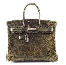 #Hermes Birkin Bag 35 Porosus Crocodile Chic Vert Veronese Palladium Hardware