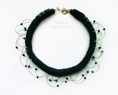 Black Necklace made with paper and small by AlfieriJewelDesign