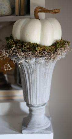pumpkin and moss urn