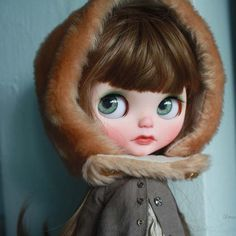 Little Fern, up FA now ^-^ #umamibaby #customblythe #artdoll #blythe #faceup #greeneyes #freckles #redhead #brunette #longhair #simplyloveme
