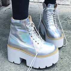 Hologram by kokopie_shop Pretty Shoes, Cute Shoes, Me Too Shoes, Sock Shoes, Shoe Boots, Shoes Heels, Dream Shoes, Crazy Shoes, Pastell Goth Outfits