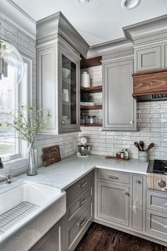 Farmhouse Kitchen Cabinets, Kitchen Cabinet Design, Interior Design Kitchen, Home Design, Gray Kitchen Walls, Soapstone Kitchen, Kitchen Ideas With Grey Cabinets, Floors Kitchen, Farmhouse Decor