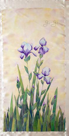 Original Painting on Silk -Irises- Cold batik Iris Painting, Fabric Painting, Fabric Art, Watercolor Flowers, Watercolor Paintings, Original Paintings, Watercolors, Silk Art, Pictures To Paint