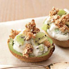 Kiwi Boats - cut kiwis in half, top with a dollop of Greek yogurt & granola or nuts-healthy quick snack