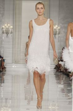 Scoop neck white sequin adorned dress | Vintage Style from Ralph Lauren -White Party in Vegas:)