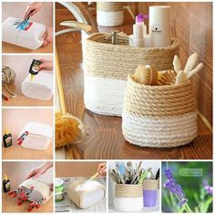 Newest Absolutely Free Home Decoration Crafts Ideas, Behälter . - my beautiful boards - Newest Absolutely Free Home Decoration Crafts Ideas, - Rope Crafts, Diy Home Crafts, Diy Crafts To Sell, Diy Home Decor, Decoration Crafts, Diy Para A Casa, Diy Casa, Diy Earrings Easy, Rope Basket