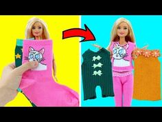 DIY BARBIE HACKS AND CRAFTS: Making Easy Clothes for Barbies Doll From Old Socks - YouTube Barbie Et Ken, Free Barbie, Barbie Mode, Barbie Dolls Diy, Diy Doll, Sewing Barbie Clothes, Barbie Sewing Patterns, Doll Clothes Patterns, Sewing Pants