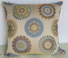 Woven  Decorative Pillow Cover 20 x 20 Transitional Throw Pillow--Wedgewood Blue, Green, Yellow, Brown, Cream Accent Pillow. $48.00, via Etsy.