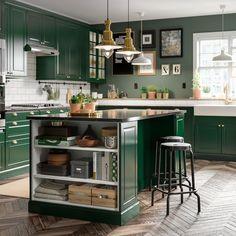 A Green And Fresh Bodbyn Kitchen In 2020 Green Kitchen Island Cheap Kitchen Cabinets Dark Green Kitchen