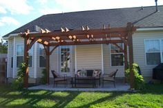 Custom-built 12x16 pergola built on a small budget. We found a plan in a magazine and hired a local handyman who knew how to follow a plan (we, alas, did not. Labor cost us about $1,000 and materials cost us around $600.