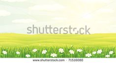 Beauty Summer, Spring Quiet Panoramic Landscape with Clear Sky, colorful cartoon  vector illustration