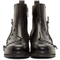 Maison Margiela Black Leather Knot Boots (€845) ❤ liked on Polyvore featuring shoes, boots, black round toe boots, leather zipper boots, ankle length boots, black leather boots and round toe boots