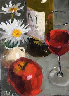 """Daily Paintworks - """"Delicious Reds"""" - Original Fine Art for Sale - © Tracy Wise Apple Painting, Fine Art Gallery, Painting Inspiration, Art For Sale, Still Life, Art Drawings, Alcoholic Drinks, Chin Chin, Wine"""