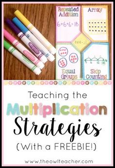 It's imporant that students aren't just memorizing their multiplication facts, but are also learning important multiplication strategies such as arrays, repeated addition, equal grouping, and skip counting. So why not make it engaging with these ideas an Math Strategies, Math Resources, Multiplication Activities, Math Fractions, Numeracy, Math Activities, Math Intervention, Second Grade Math, Grade 3