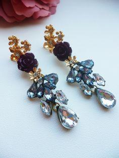 Gold burgundy rose clear crystal earrings