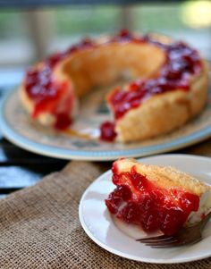 Angel Food Cake with Michigan Cherry Tart Preserves a delightfully skinny dessert! #recipes #dessert by www.highheelstohotwheels.com on www.whatscookingwithruthie.com