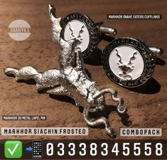 Saariya's Markhor Combo 3890. Whatsapp 03338345558 Includes 3d Metal Lapel pin & Cufflinks Who is Markhor? Markhor is the national animal of Pakistan. 'Unverified legends' from centuries reveal that Markhor defends from bad,evil omen.It was notorious to Hunt down Snakes and Kill them by biting the head off , and this is how it got its name : Mar - Snake , Khor - Eater. Himalayan ancient Tribes used to Keep Markhors in their camps to protect from poisonous snakes.The legendary Goat is still f Poisonous Snakes, National Animal, Himalayan, Camps, Lapel Pins, Goat, Pakistan, Bracelet Watch, Legends