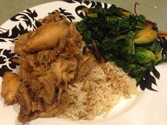 Chicken Adobo and Sautéed Garden Veggies with Brown Rice