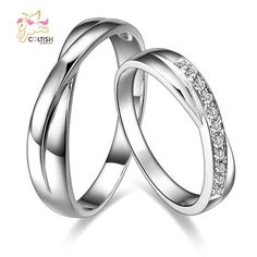 18K Platinium Plated Wedding Bands Lover Promise Ring CZ Twist Valentine's Gift #Coltish #Band