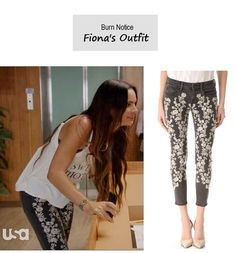 "On the blog: Fiona's (Gabrielle Anwar)'s floral panel skinny jeans | Burn Notice - ""New Deal"" (Ep. 701) #tvfashion #outfits #fashion #denim"
