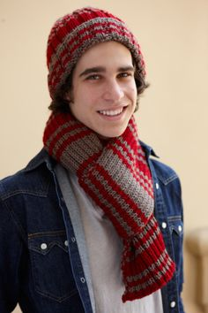 Knitted Hat and Scarf Set with Varsity Stripe (Free Pattern)