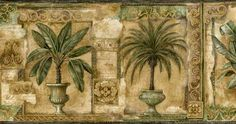 Framed Tropical Plants Wall Paper Border