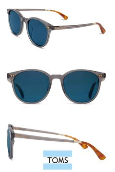 Keep things cool in slate grey TOMS Bellini frames. These matte sunglasses feature round blue lenses.