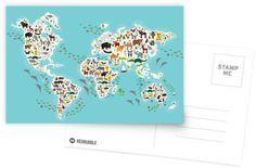 Cartoon animal world map for children by EkaterinaP