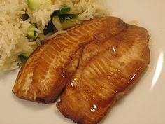 Honey soy tilapia.  This is my go to low calorie meal.  soooo damn easy.   220 calories, serves 4