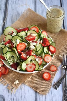 Cucumber & Strawberry Poppyseed Salad - 14 Best Mixed Fruit and Veggie Salads | GleamItUp