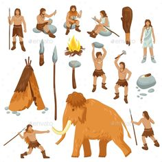 Buy Primitive People Flat Cartoon Icons Set by macrovector on GraphicRiver. Primitive people flat cartoon icons set with cavemen in stone age weapon tool and ancient animals isolated vector ill. Stone Age Animals, Icons Web, Stone Age People, Stone Age Art, Prehistoric Man, Affinity Designer, History Projects, Cartoon Icons, Ancient Art