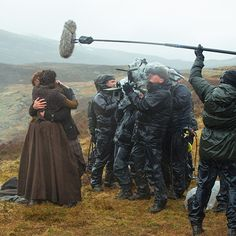 """""""@outlander_starz Rain or shine, Claire and Jamie are in this together.#BehindTheScenes #Outlander """""""