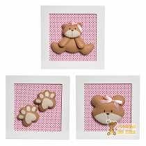 Trio Quadrinhos Decorados Quarto Bebê Infantil Ursa Ursinha