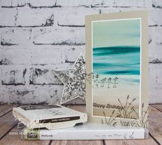 Beach Feel Birthday Card Featuring the Wetlands Stamp Set and Serene Scenery Papers from Stampin' Up! UK