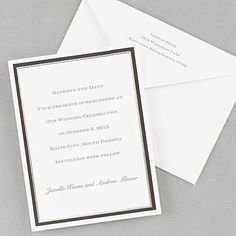 White with Black and Silver Foil Border - Vertical - Invitation    |  40% OFF  |  http://mediaplus.carlsoncraft.com/Wedding/Save-the-Dates/NA-NA7267V-White-with-Black-and-Silver-Foil-Border--Vertical--Invitation.pro