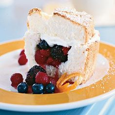 Angel Food Cake Stuffed with Whipped Cream and Berries | CookingLight.com