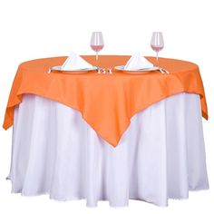 54 x 54 inch Orange Square Polyester Tablecloth Cool Diy, Flower Table Decorations, Wedding Decorations, Parties Decorations, Tablecloth Sizes, Square Tablecloths, Banquet Tables, Party Tables, Orange Square