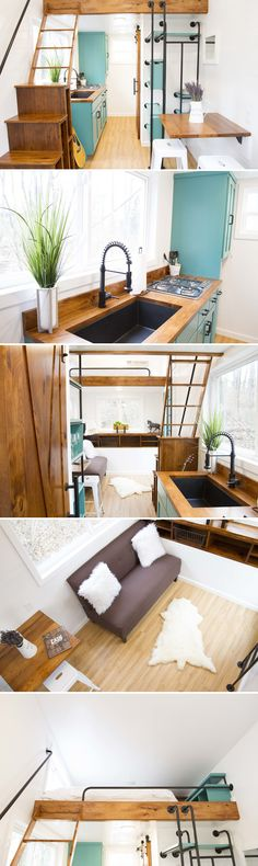 The Nash is a 20-foot tiny house on wheels built by Ohio-based Modern Tiny Living. Based on their Mohican model, the Nash contrasts deep wood colors with teal cabinetry and white walls.