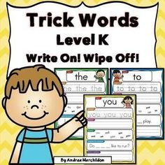Are you looking for a fun way to practice Kindergarten trick words? These Write On, Wipe Off mats include the 27 trick words introduced in Units 1 - 5 in the Fundations program. Set up a dry erase center in no time with this product! Great for presch Kindergarten Writing Journals, Kindergarten Units, Handwriting Activities, Sight Word Activities, Reading Centers, Literacy Centers, Classroom Language, Word Work, Student Learning