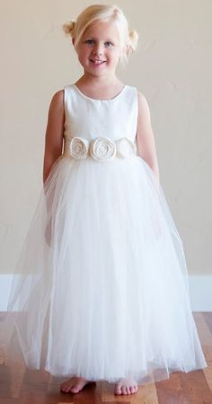 Natural Silk & Chiffon Flower Girl Dress by LilliRoseDesigns, $79.99