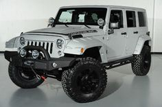 Custom Light Grey Kevlar Coated 2014 Jeep Wrangler Unlimited: Front-Left View
